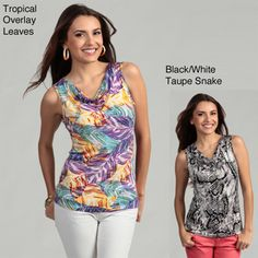 @Overstock - An abstract floral print defines this colorful top from Cable & Gauge. With a light stretch, this sleeveless top is finished with a cowl neck.http://www.overstock.com/Clothing-Shoes/Cable-Gauge-Womens-Floral-Abstract-Drape-Neck-Dress/6424001/product.html?CID=214117 $15.99