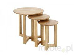 Actona Munch Drewniane Stoliki Kawowe, Drewno Dębowe 3 częściowe - 0000046479
