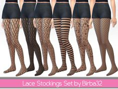 A stockings set with six different transparent texture. Hope ypu like them.  Found in TSR Category 'Sims 4 Accessories Sets'
