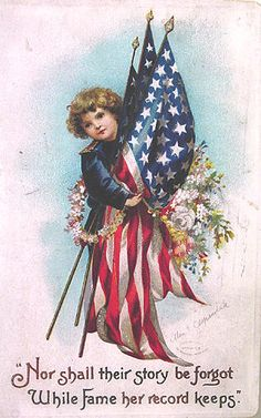 Antique patriotic postcard, for the Fourth of July or Decoration Day (Memorial Day). Patriotic Images, Patriotic Crafts, July Crafts, Patriotic Decorations, Patriotic Posters, Patriotic Party, Happy 4 Of July, Fourth Of July, Vintage Cards