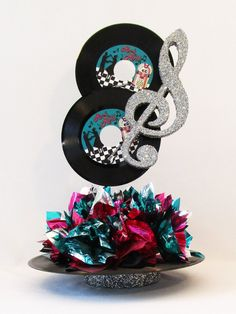 Rock n Roll Record Centerpiece – Designs by Ginny Music Centerpieces, Music Party Decorations, Class Reunion Decorations, 50th Birthday Party Decorations, Party Centerpieces, Birthday Parties, Recruitment Decorations, Fifties Party, 70s Party