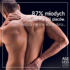 Pół żartem, pół serio, ale problem jest poważny – 9 na 10 młodych osób ma bóle kręgosłupa! A jak jest z Tobą? #health #problem #young #ageless #wieczniemlodzi www.ageless.pl