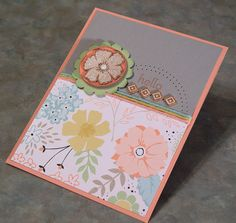 Handmade Hello Card using Stampin' Up A Dozen thoughts and the new Sweet Sorbet dsp & Sweet Sorbet Accessory Pack.