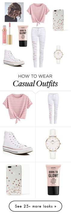 """""""Cute but Casual"""" by ashlynn01 on Polyvore featuring Converse, Kate Spade, NYX and Daniel Wellington #casualclothes"""