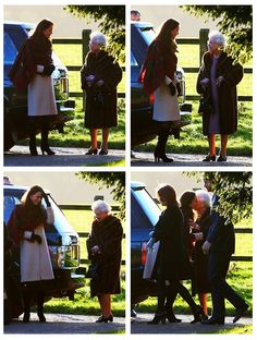 Christmas Day before Kate took off the cream coat to reveal her tartan coat dress for the royal walk to church service 12-25-13