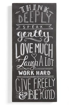 Free shipping and returns on PRIMITIVES BY KATHY 'Think Deeply' Chalk Sign at Nordstrom.com. Heartwarming maxims are rendered in chalk-look script on a charming sign that adds a shabby-chic touch to any room.