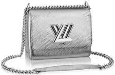 Louis Vuitton Twist Lock Bag In Silver Epi Leather
