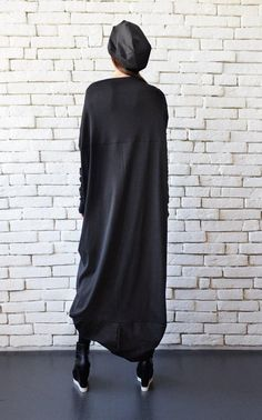 SALE Extravagant Black Long Sleeve Dress/Plus Size Maxi Dress/Black Maxi Dress/Front Effect Long Tunic/Oversize Casual Top/Loose Black Tunic Black Tunic Dress, Black Long Sleeve Dress, Black Maxi, Plus Size Maxi Dresses, Nice Dresses, Dresses With Sleeves, Long Tunic Tops, Look Casual, Leggings