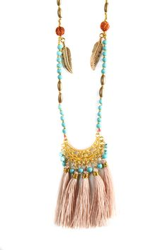 img_7998 Tassel Necklace, Tassels, Aqua, Clothing, Gold, Jewelry, Fashion, Outfit, Jewellery Making