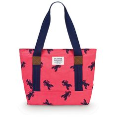 Tote Canvas Lobster red, pink, navy. I love lobsters!