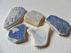 5 blue & cream English sea pottery – Lovely beach find pieces