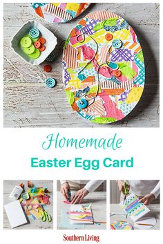 Homemade Easter Egg Card | Send a little snail mail love with this straightforward stationery template. Repurpose old ribbon, cardstock, scrapbooking paper, magazine clips, yarn, and/or fabric for a collaged, colorful Easter card.