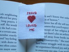 Jesus loves me bookmark cross stitch embroidery needlepoint needlecraft hymn song Christianity Bible white red baptism Christmas Easter by Allisonscsc on Etsy