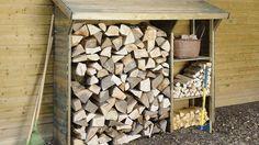 Abri bûcher bois casiers séparés