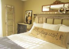 Wedding date painted on burlap for bedroom...this blog is amazing!