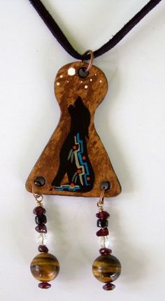 Wolf Totem Gourd Jewelry Necklace with Gemstones  by John and Jeanne Fry | ConsciousArtStudios - Jewelry on ArtFire