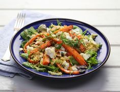 A slick of honey and a scattering of caraway seeds turn organic carrots into superstars. Add creamy Greek feta and tender cooked bulgar and you've got a dish to race home for. Chef Recipes, Recipies, Bulgar Wheat, Honey Roasted Carrots, Vegetable Stock Cubes, Roasting Tins, Toasted Almonds, Mixed Vegetables, Couscous