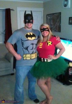 and Robin - Halloween Costume Contest at Costume- Batman and Robin - Homemade costumes for couplesBatman and Robin - Homemade costumes for couples Costume Robin, Robin Halloween Costume, Batman And Robin Costumes, Couples Halloween, Diy Couples Costumes, Homemade Halloween Costumes, Halloween Kostüm, Halloween Outfits, Diy Costumes