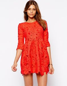 Image 1 of Arrogant Cat Long Sleeve Lace Skater Dress