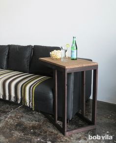 A little DIY woodworking project to consider this upcoming weekend. This over-the-armrest side table makes movie night more enjoyable!