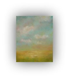 Small Abstract Landscape Oil Painting on Canvas- 11 x 14 Gold and Blue Field Sky and Cloud Painting- Original Palette Knife Art