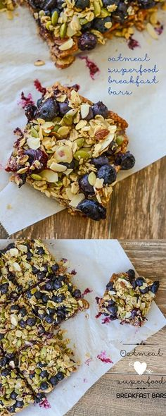 Eat Healthy Oatmeal Superfood Breakfast Bars loaded with protein, clean, healthy ingredients. Perfect way to start your day. Gluten free and Vegetarian - A Healthy Life For Me - Oatmeal Superfood Breakfast Bars Recipe Vegetarian and Gluten Free Healthy Snacks, Healthy Eating, Healthy Recipes, Breakfast Healthy, Healthy Breakfasts, Healthy Bars, Healthy Sweets, Breakfast Bar Food, Superfood Recipes