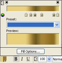 Metallic Gradient Settings for Gold Foil Effect