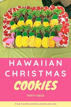 Want to try fun a cookie idea for your tropical Christmas celebration?  Check out Hawaiian Christmas Cookies:  Party Ideas by thetarnishedjewelblog.com #christmascookies #christmascookieideas #hawaiianchristmaspartyideas #hawaiianchristmasfoodideas #hawaiianchristmascookies #tropicalcookieideas #hawaiianpartyfoodideas Christmas Palm Tree, Christmas Staircase, Tropical Christmas, Christmas Mantels, Christmas In July, Simple Christmas, Christmas Cookies, Christmas Diy, Teacher Luncheon Ideas