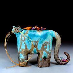 Tweezle Picksniffian -Raku Ceramic by Carole Fleischman