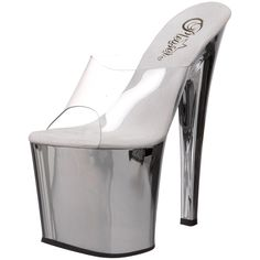 Pleaser Women's Tab00-701SCH Platform Sandal,Clear/Silver Chrome,7 M US. You're shockingly sassy in the Taboo sandal from Pleaser. This wildly sensuous shoe features a transparent upper that shows it all off atop a bordering-on-dangerous metallic platform and super-high heel that leave you towering over the competition.