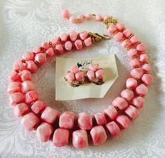 Vintage Coro Pegasus Double Strand Necklace & Earrings Pink Marbleized Plastic #Coro