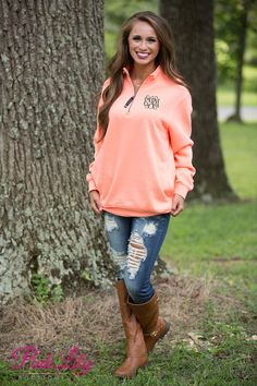 These beautiful quarter zips are your newest favorite for relaxing all season long! The soft sweatshirt material is so wonderful for wearing all day long, while the vibrant bright coral color will pop out from the darker hues of the season!