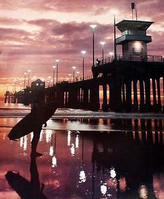 "HUNTINGTON BEACH HIGH QUALITY OLD PIER COLOR PHOTO PRINT 16"" by 20"" SUNSET"