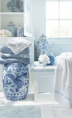Blue and white ginger jars for the bathroom