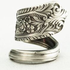Victorian Floral Sterling Silver Vintage Spoon Ring by Spoonier,