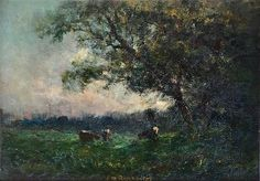 """Landscape with 3 cows trees on right, Edward Mitchell Bannister, oil on board, 10 x 14"""", Hearne Fine Art."""