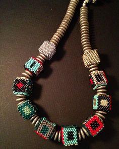 New Cube beaded beads #juliepowelldesigns #seedbeads #beadedbeads#necklace