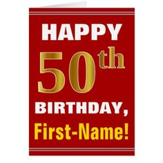 #Bold Red Faux Gold 50th Birthday w/ Name Card - #birthday #gifts #giftideas #present #party