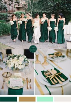 Emerald green and gold fall wedding color ideas // Perfectly subtle Baylor wedding colors!