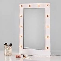 Shop Vanity Marquee Beauty Mirror from Pottery Barn Teen. Our teen furniture, decor and accessories collections feature fun and stylish Vanity Marquee Beauty Mirror. Create a unique and cool teen or dorm room. Led Bulb, Vanity, Beveled Mirror, Mirrors For Sale, Pottery Barn, Glass Shelves, Beauty Mirror, Led Mirror, Mirror