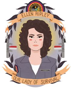 Ellen Ripley Art Print (I want this and the Dana Scully one to go on either side of my desk!)