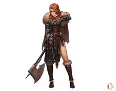 Female Human Axe Barbarian - Pathfinder PFRPG DND D&D ed fantasy Note: Home hub Sure, home is where in actuality the heart is. Dungeons And Dragons Characters, Dnd Characters, Fantasy Characters, Female Characters, Barbarian Dnd, Barbarian Woman, Fantasy Character Design, Character Design Inspiration, Character Art