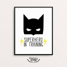 Superhero In Training, Batman Print, 8x10 Printable, Batman Printable, Boys Room Decor, Batman Party