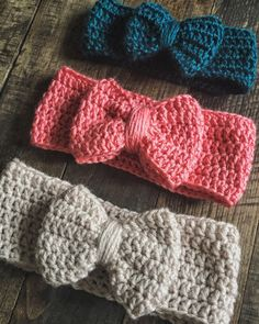 Crochet bow ear warmer pink bow headband by LaylasLovelyBoutique