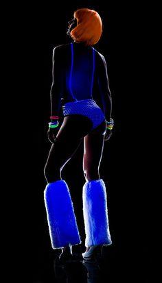 Blacklight Reactive Futuristic Lines Glow Romper