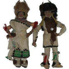 Vintage Pair Of San Juan Pueblo Buffalo Dancer Dolls Native American  Hand Made One Of A Kind Circa 1940's  - found at www.rubylane.com @rubylanecom