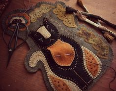 Rebekah L. Smith ~ Wooly Chalkware Cat Sewing Caddy