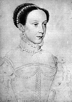 Sketch of Mary, by Francois Clouet, c1559. This is a lovely sketch, and should be compared with Clouet's earlier sketch of Mary at age 12 / 13