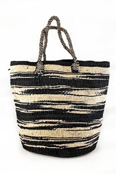 This chic shopping tote is woven from dyed black and natural white sisal fibers. Sisal fiber is incredibly tough