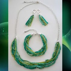 Colors of the Sea Seed Bead Jewelry Set by ByChristineMarie, $24.00